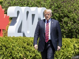 Donald Trump at the G7 in Charlevoix, Quebec, Canada.